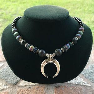 Silverskylight Jewelry - Onyx black lava druzy quartz silver moon choker